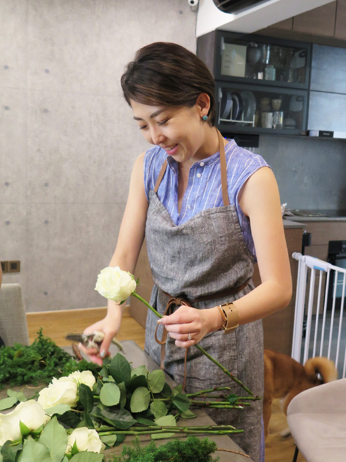 シンガポール 習い事 フラワーアレンジメント お花教室 リース作り